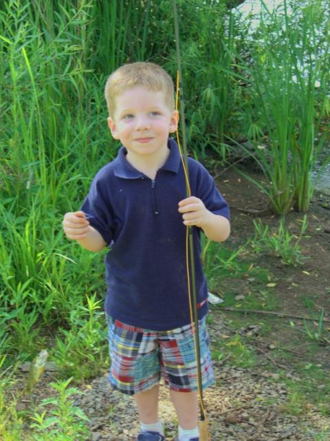 Working on my 3 year old -- fly fishing indoctrination