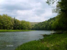 Clarion River down the big hill from our camp in Clarion County